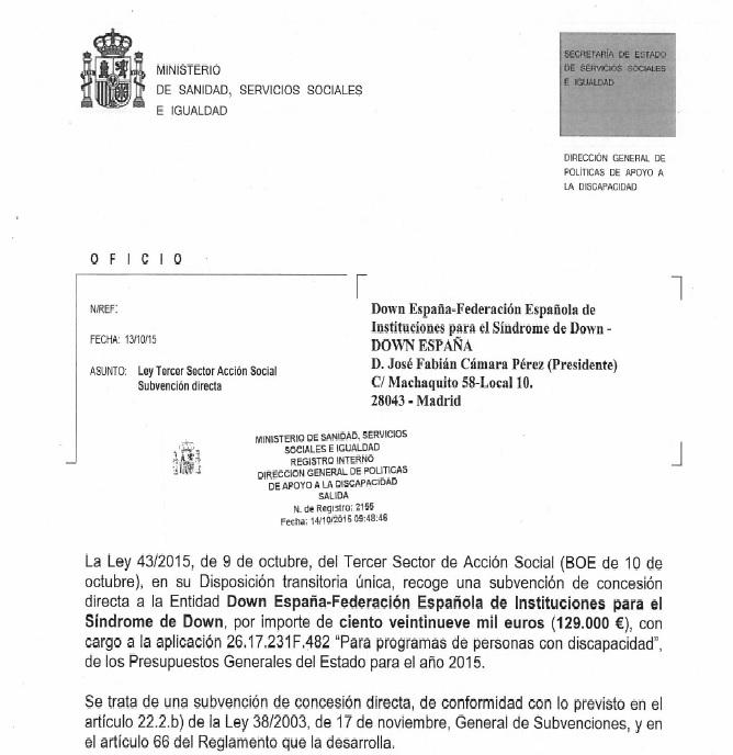 Sostenimiento económico-financiero de DOWN ESPAÑA