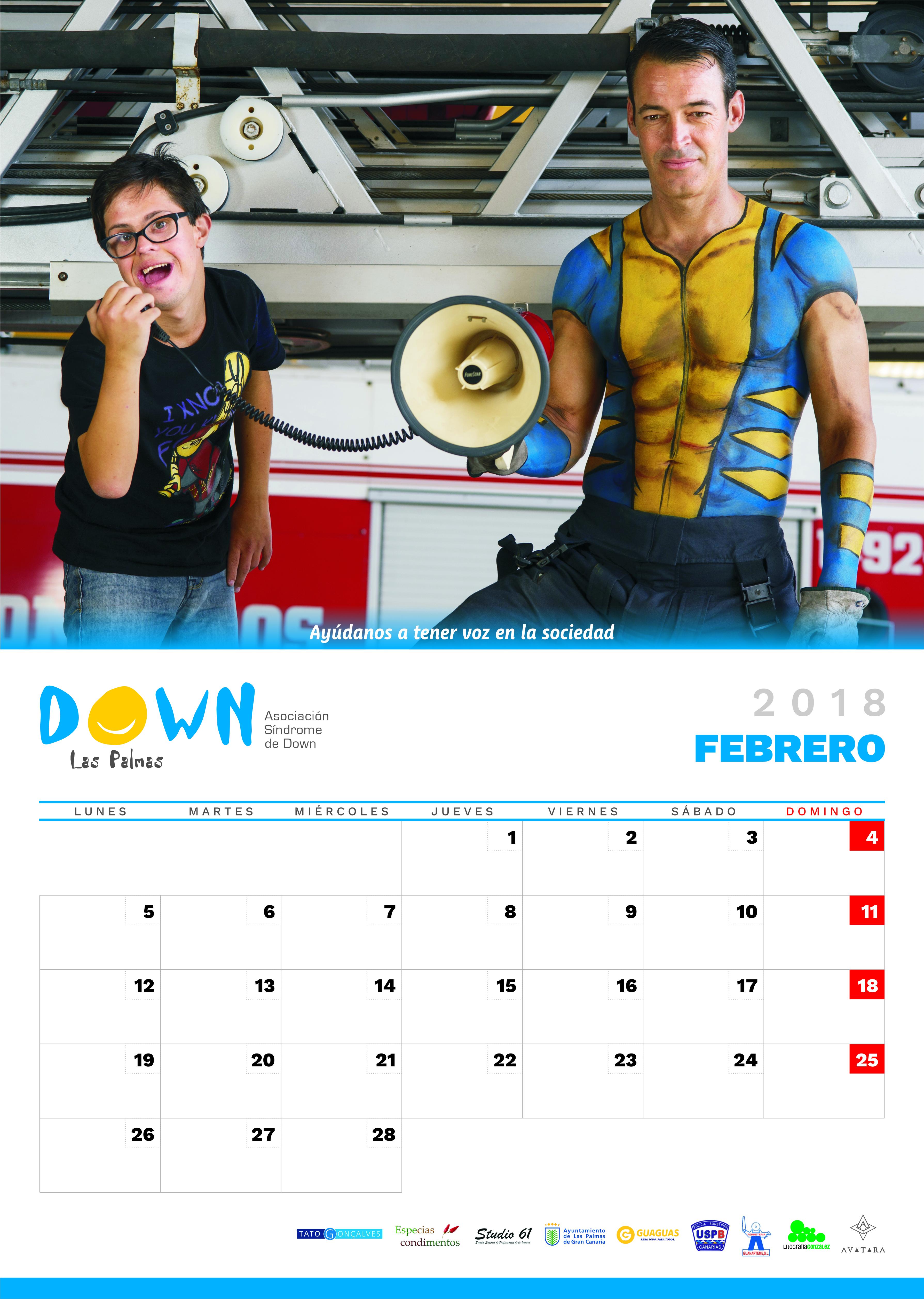 Calendario Palmas.Calendario 2018 Down Las Palmas Down Espana